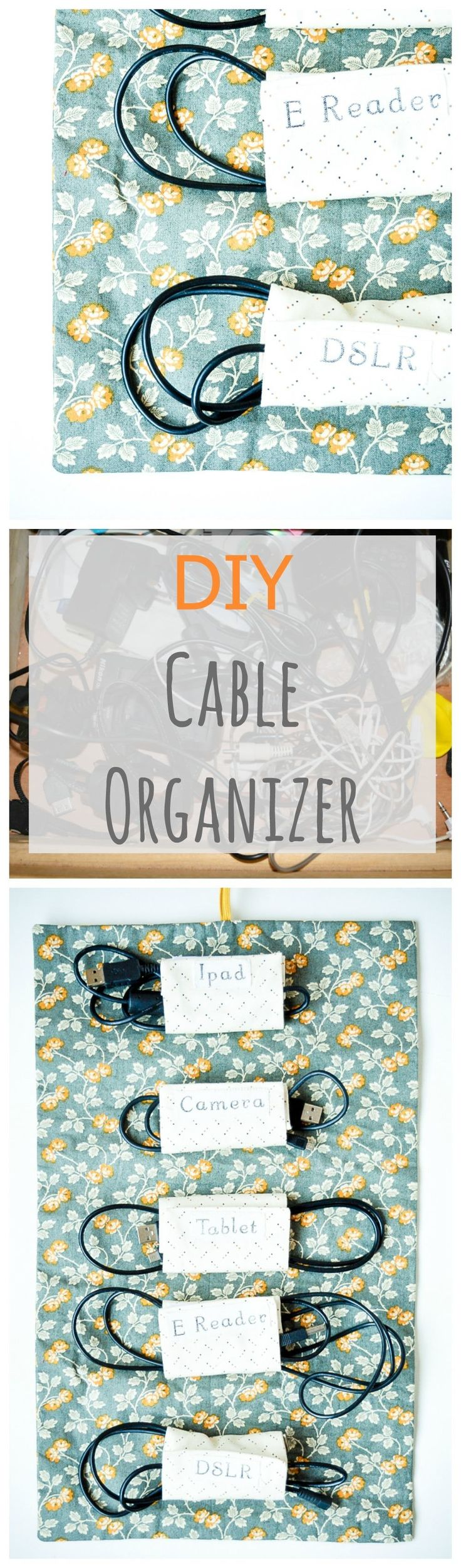 Fabric Cable Tidy, Cable Roll DIY - Tidy your cables with this organizer