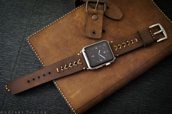 Handmade Vintage Leather Band - BaseBall Stitching/dark BROWN leather incl. Lugs Adapter for Apple Watch (Sport/Space Gray) 42mm or 38mm