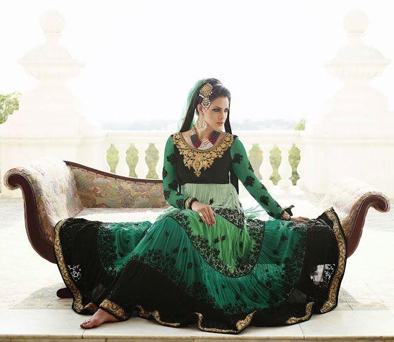 Alluring Deep Geenish Blue & Black Salwar Kameez   StylishKart.com
