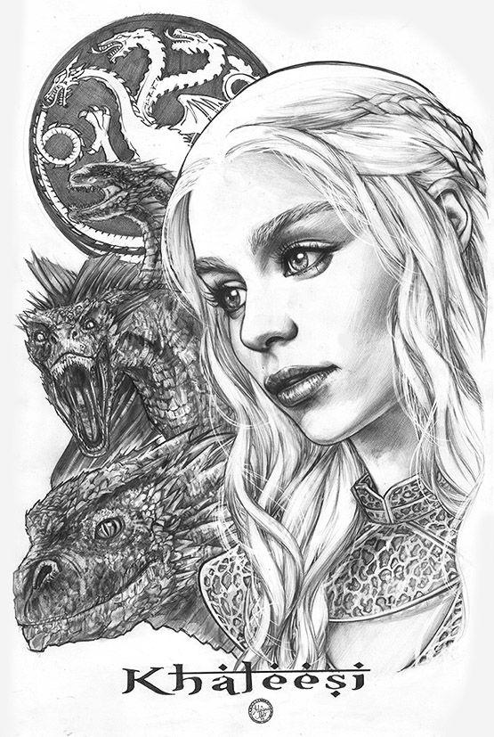 """Daenerys PinupsAMelo"" (black and white version) by AdrianaMelo.deviantart.com on @deviantART"