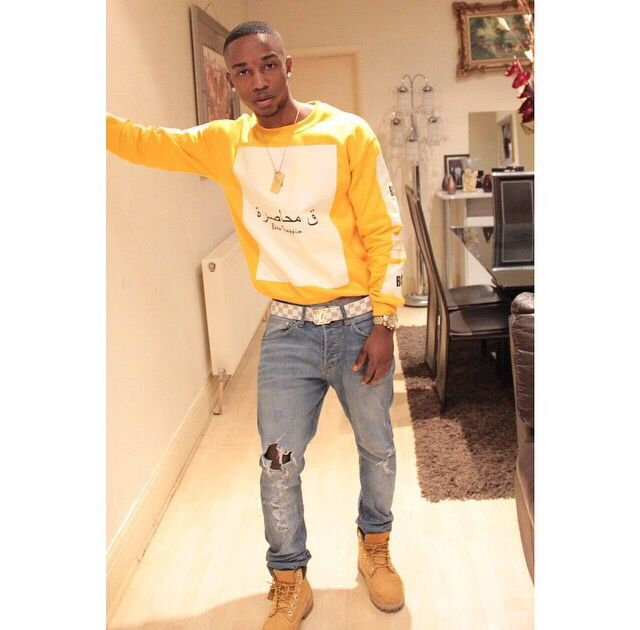 Men Swag Fashion Trend BlaqueCrown Yellow Jumper Sweater Timberlands Dope Style
