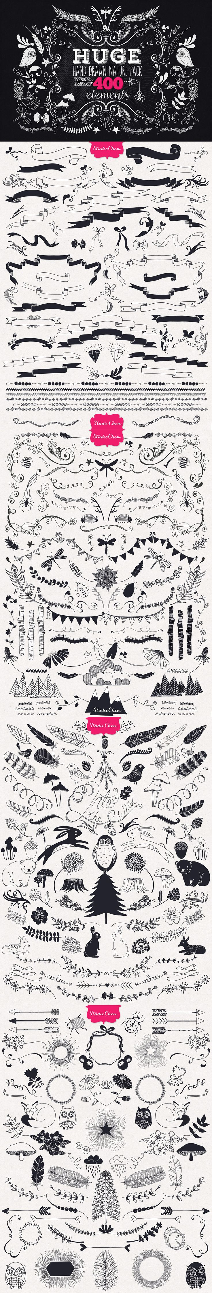 Huge Hand Drawn Nature Pack Elements by Studio Chem | The Comprehensive, Creative Vectors Bundle Mar 2015 from Design Cuts