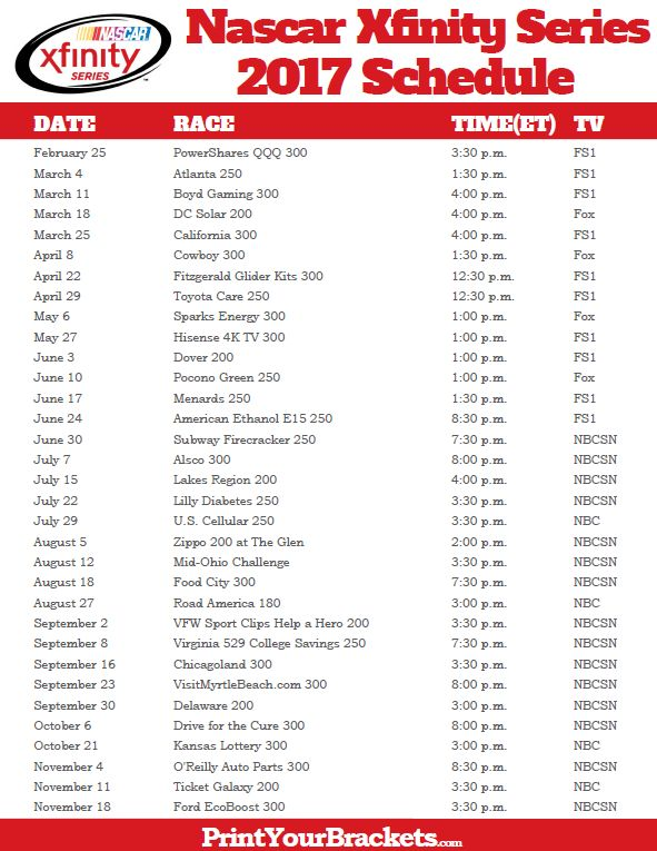 Printable Nascar Xfinity Series Schedule