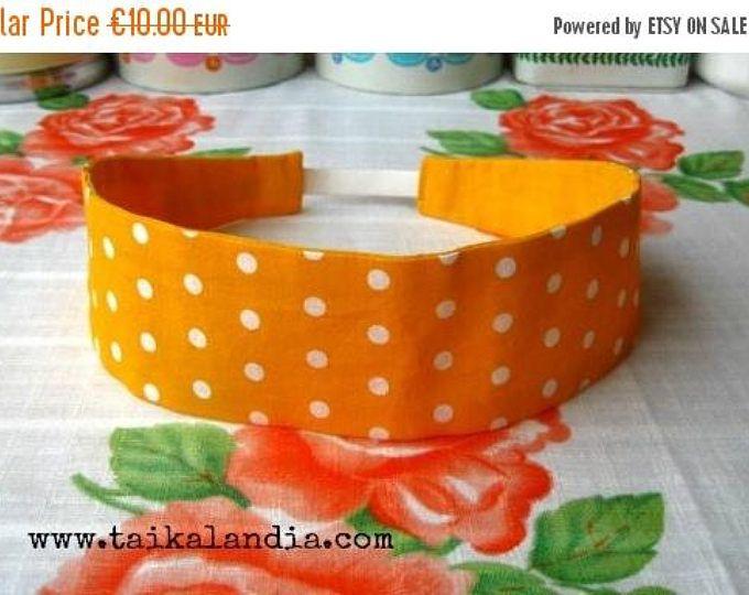 ON SALE Yellow Hairband, Polka Dots Headband, Yellow Headband, Reversible Hairband, Fabric Hairband, Polka Dots Hairband, Adult Headband, Po