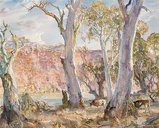 Hans Heysen - Gums and Cliffs, Murray River, 1960