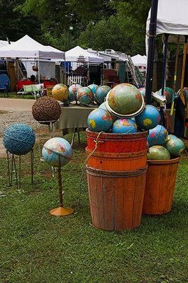 Buckets of globes.  Grab them and look around Pinterest for very fun ways to use them