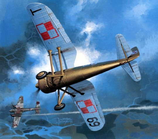 September 1939 Polish PZL P.11c attacking Dornier 17