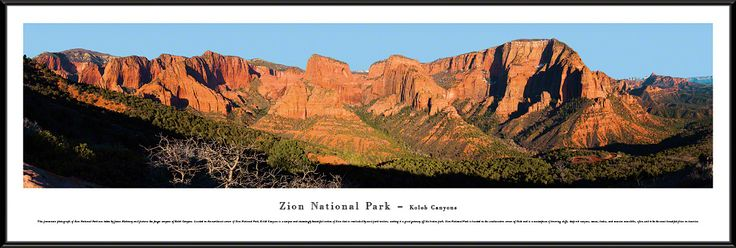 Zion National Park Panoramic Picture Framed- Kolob Canyons