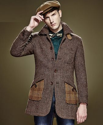 Striped Brown Wool Pea Coat Sale: Get Mens Striped Brown Wool Pea ...