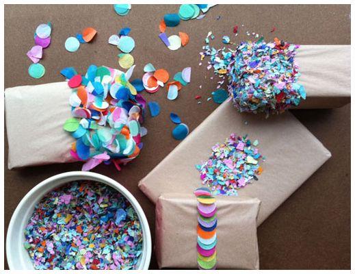 Simply make confetti (or buy), wrap, use glue and dip in confetti.  Cute idea.