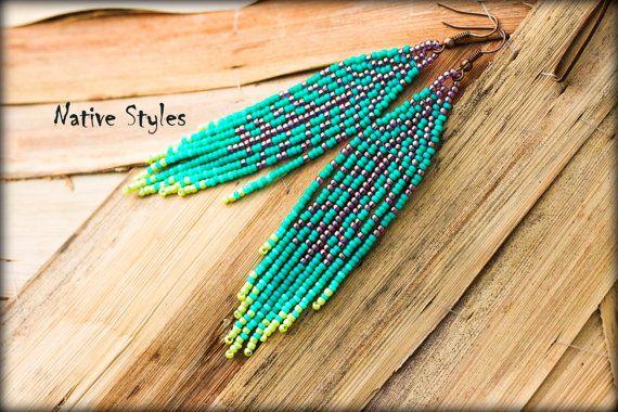 Asymmetrische Ohrhänger,Indianer Style Ohrringe,Lange Ohrhänger Türkise,Indianer Look Ohrhänger,Glassperlen gewebte Ohrringe,Türkis,Bronze