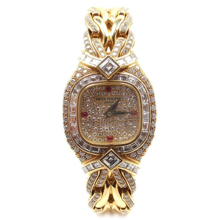 Patek Philippe Lady's Yellow Gold Diamond Ruby La Flamme Bracelet Watch Ref 4808   From a unique collection of vintage wrist watches at https://www.1stdibs.com/jewelry/watches/wrist-watches/