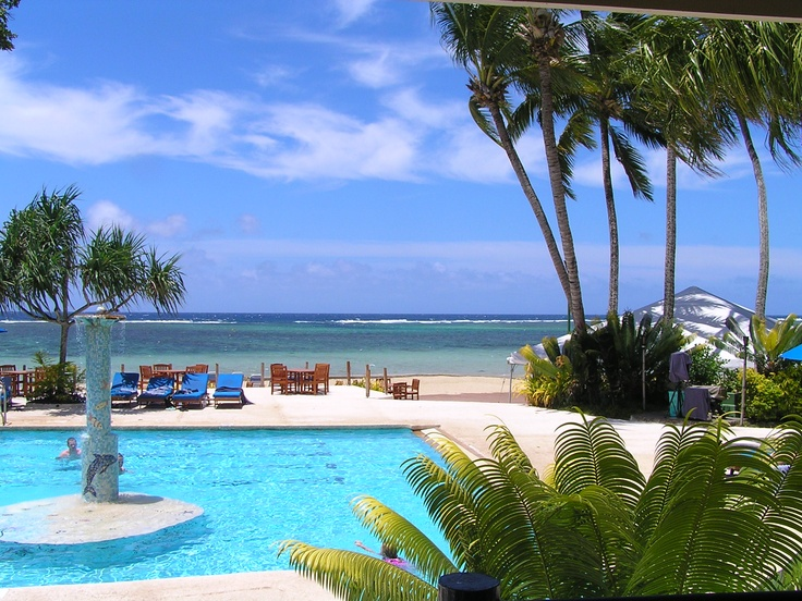 View over the reef, at Rydges resort, Fiji