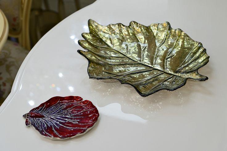 Оригинальные и по-осеннему яркие блюда из стекла и сплава серебра