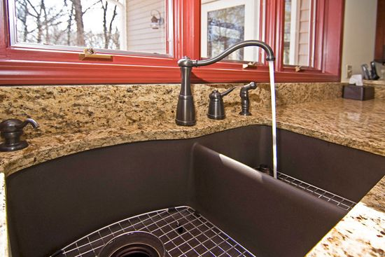 How to Choose the Right Kitchen Sink: Composite vs Stainless;  love the drainer area on the right sink