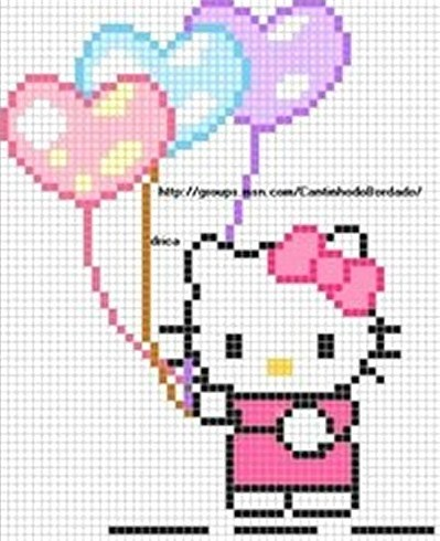 Hello Kitty hearts hama perler beads pattern