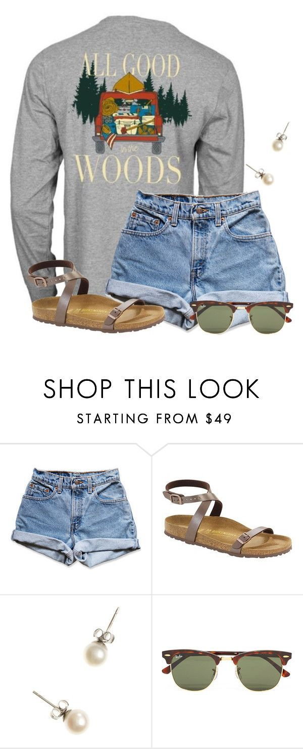 """""""Just ordered some new Lilly shorts for $30!!"""" by flroasburn on Polyvore featuring Levi's, Birkenstock, J.Crew and Ray-Ban"""
