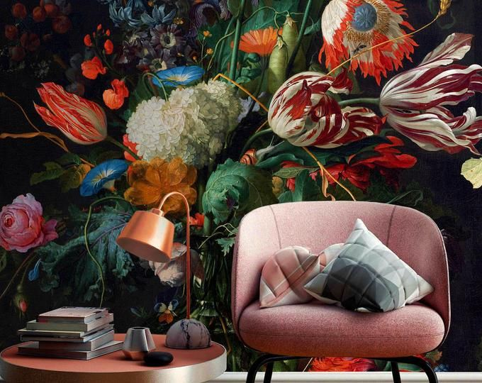 Etsy Your Place To Buy And Sell All Things Handmade Wall Murals Floral Wall Floral Wallpaper