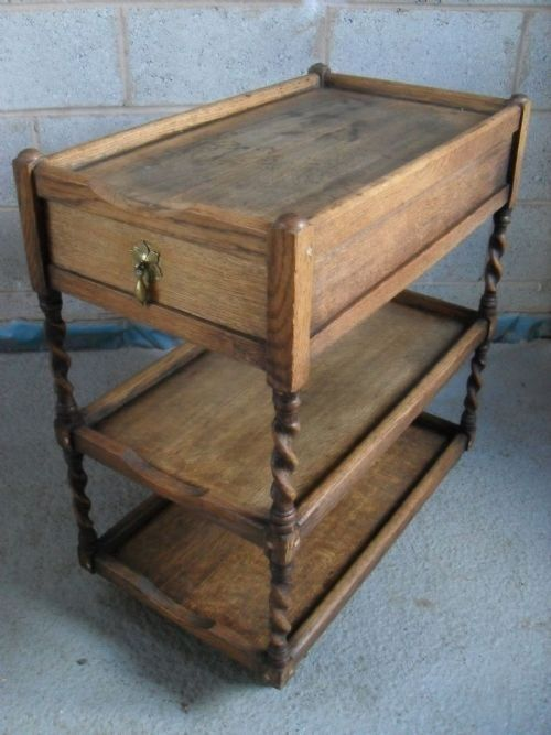 GOLDEN OAK 3 TIER BARLEY TWIST TEA TROLLEY WITH 2 DRAWERS SET ON CASTORS