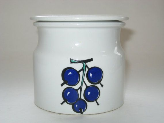 Arabia Finland RARE POMONA Berries Grapes Jam Jar by Kaj Frank 1963