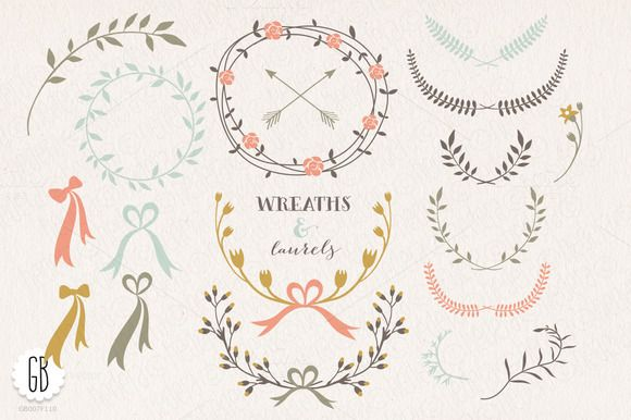 Check out Wreaths laurels ribbons folk flowers by GrafikBoutique on Creative Market