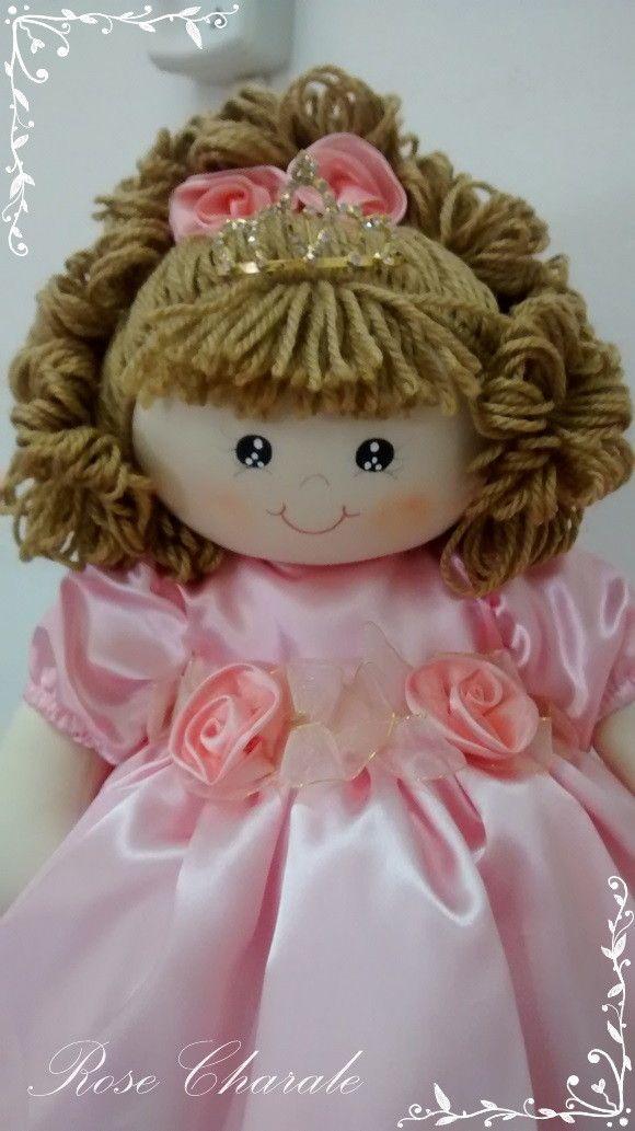Boneca Princesa 50cm   Rose Charale Bonecas de Pano   Elo7