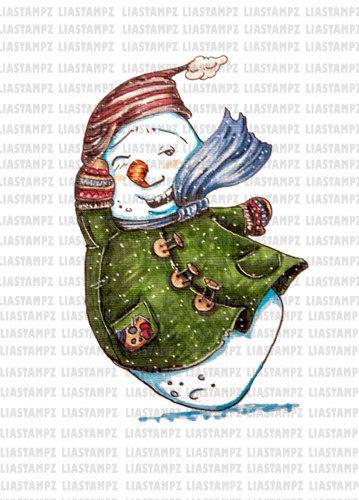 Digital stamp -Snowman digital stamp . Christmas digital stamp.winter digital stamp. Vintage digital stamp. LiaStampz