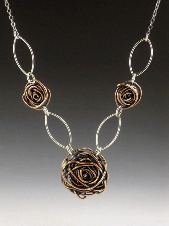Necklace | Michele Grady.  Sterling and Copper Rose Necklace