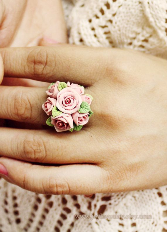 tiny soft pink ring made by polymer clay