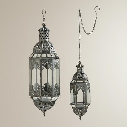 One of my favorite discoveries at WorldMarket.com: Antiqued Zinc Latika Hanging Lanterns $16.99 - $29.99