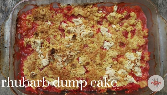 One Dish Strawberry Rhubarb Dump Cake the fastest & easiest rhubarb cake you'll ever make! No mixing, no stirring, no dirty bowls: just layer ingredients in the pan & bake! The most work will be chopping up the rhubarb!