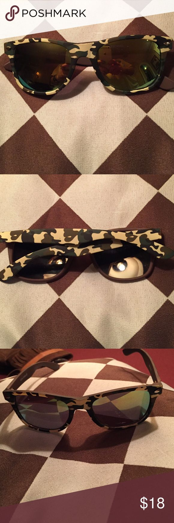 Fun Camo Sunglasses w Soft Material. Worn once. Fun. Life if the Party Shades. Camo. No signs of wear. 😎 Accessories Sunglasses