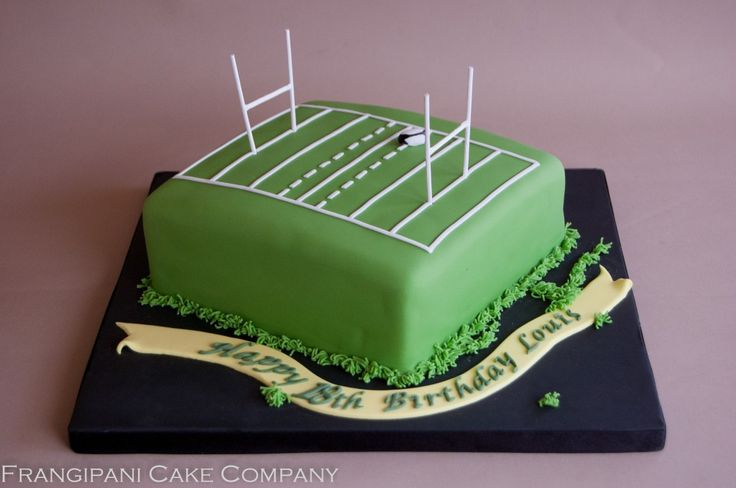 A Glorious Victoria sponge with butter cream and seedless raspberry jam for a young rugby player's birthday. A rugby pitch cake that looks great and tastes scrumy!