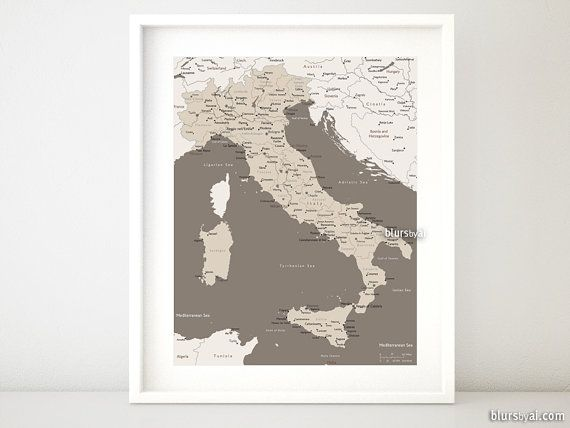 "16x20"" Printable map of Italy, Italy map with cities, Italia map, Italy map, brown, neutrals, earth tones, dorm decor for him - map054 003"