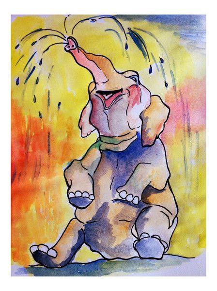 Kaart, vrolijke olifant (aquarel) van Feest der creativiteit op DaWanda.com