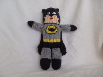 """This is Batman inspired knitted toy. The toy is approximately 10"""" (26cm) tall…"""