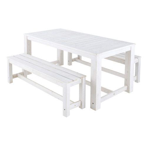 Maison du monde Tavolo bianco + 2 panche da giardino in legno L 180 cm