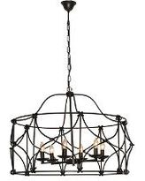 Retro Industrial Style Wrought Iron Pendant Light with 6 Candle Lights
