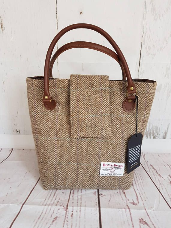 2640e4ff7b Harris Tweed Tote Bag Tartan Tote Bag Brown Herringbone Harris Tweed