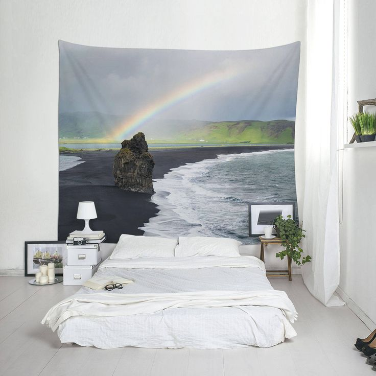 Rainbow Tapestry, Landscape Photo, Iceland Tapestry, Coastal Art, Photo Tapestries by Macrografiks on Etsy