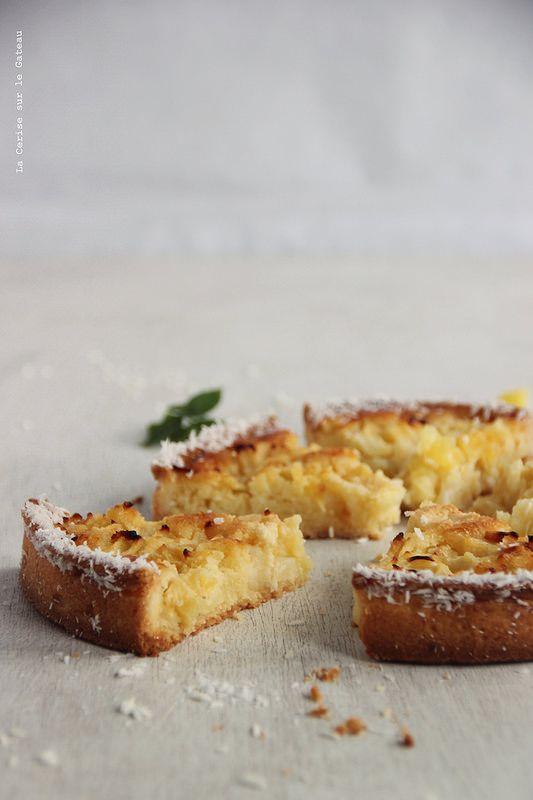 ... tarte exotique (pâte sablée, crème noix de coco et dés ananas poêlés et flambés au Malibu ...