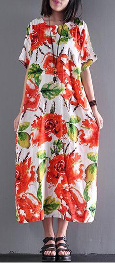 New print linen dress o neck short sleeve sundress loose casual maxi dresses