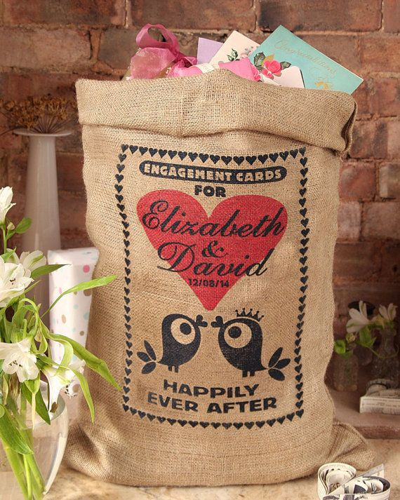Personalized engagement card post box sack. Burlap card holder, wishing well from HessianandBurlap