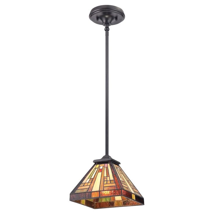 Elstead Lighting Quoizel Stephen Single Light Ceiling Pendant In Vintage Bronze Finish And Tiffany Glass Shade