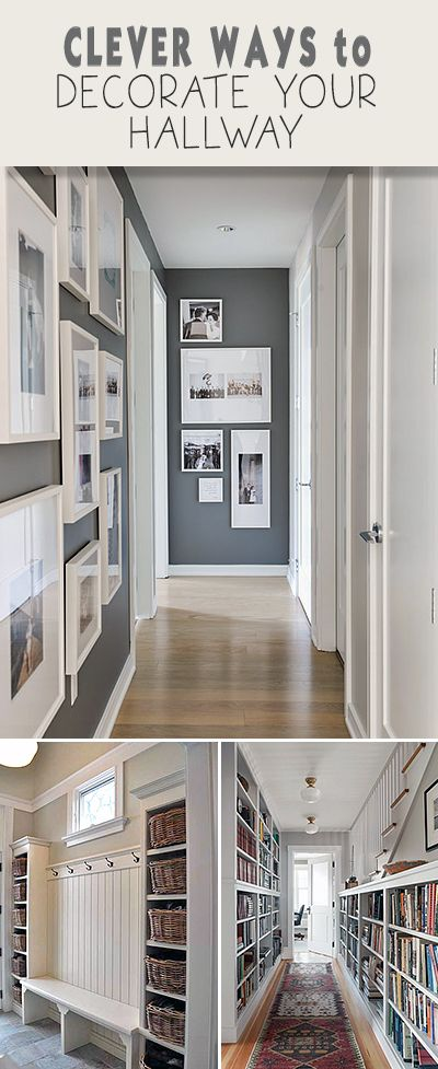 Clever Ways to Decorate Your Hallway •  Picture Frames lining stair way would be elegant.