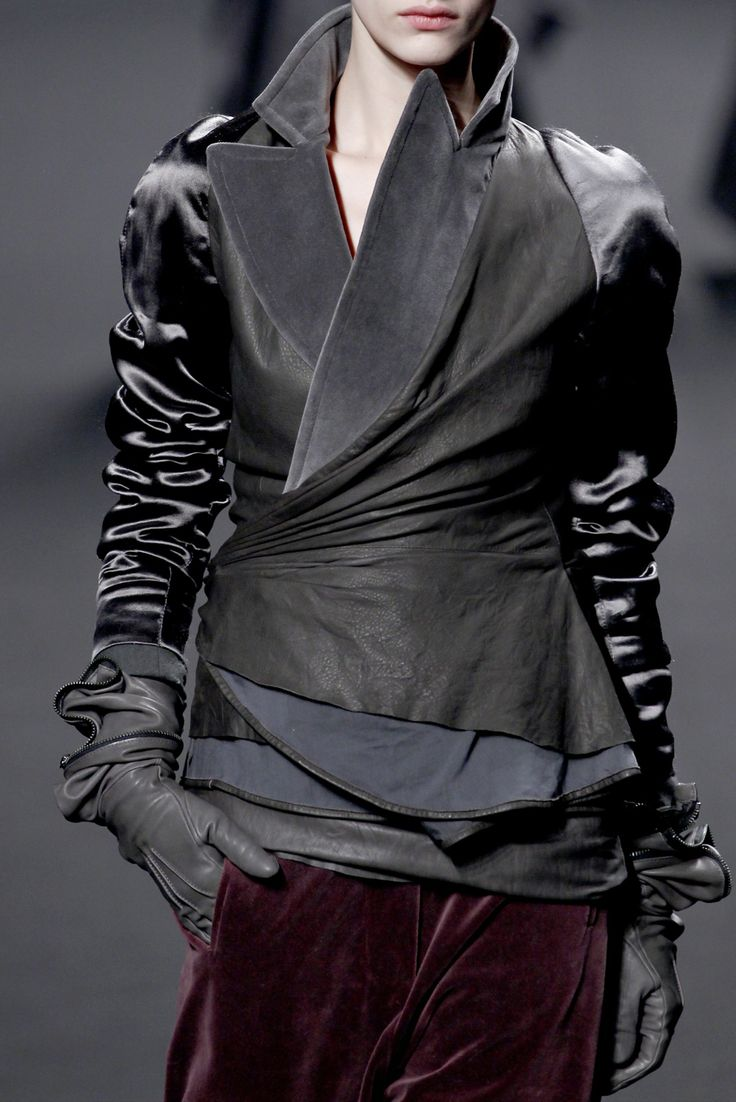 Haider Ackermann Fall 2011. Leather and silk jacket detail.