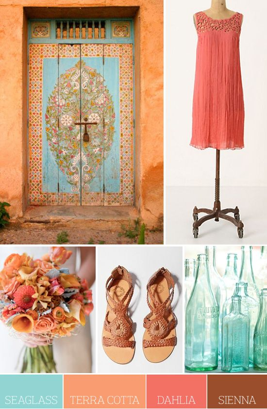 Seaglass, Terra Cotta, Dahlia and Sienna : Colors Pallets, Colors Combos, Terra Cotta, Colors Palettes, Colors Schemes, Wedding Colors, Terracotta, Colour Palettes, Colors Inspiration