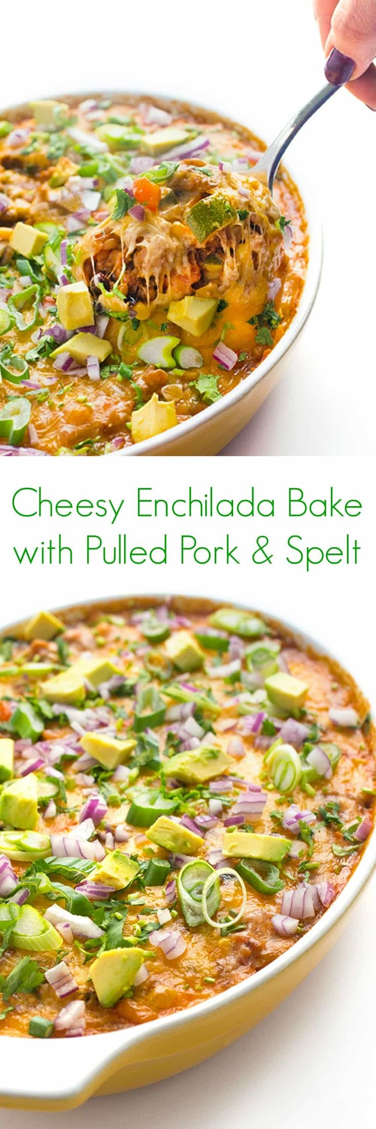Cheesy Enchilada Bake with Pulled Pork and Spelt Recipe - An easy, healthy dinner that is perfect for serving a large crowd! - The Lemon Bowl