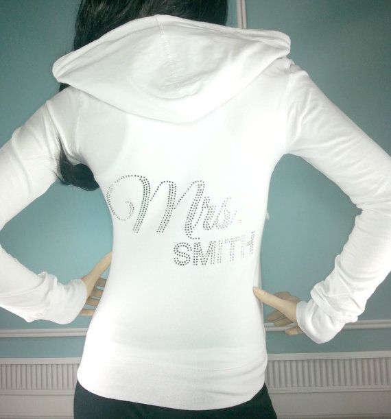 Personalized Mrs Hoodie. Only $37. Bride Clothing. Super soft and fitted lightweight hoodie. Perfect for pre wedding appointments, getting ready on the big day and as an airport outfit when leaving for the honeymoon.