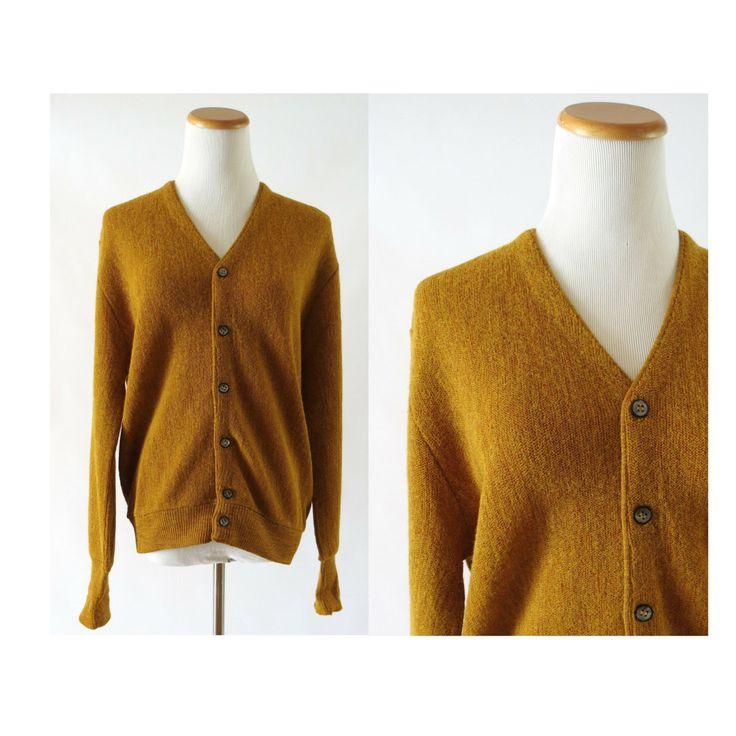 Mens Cardigan Sweater / Grandpa Cardigan / Vintage Cardigan / Mustard Yellow Cardigan / 50s 60s Cardigan / Arnold Palmer / Alpaca Sweater by GoodLuxeVintage on Etsy